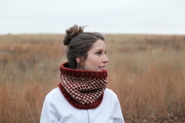 Checkered Chunky Knit Neck Warmer in Spice and Oatmeal