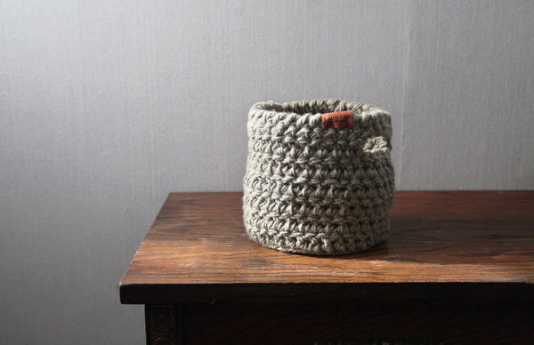 Medium Crochet Basket with Handles in Taupe