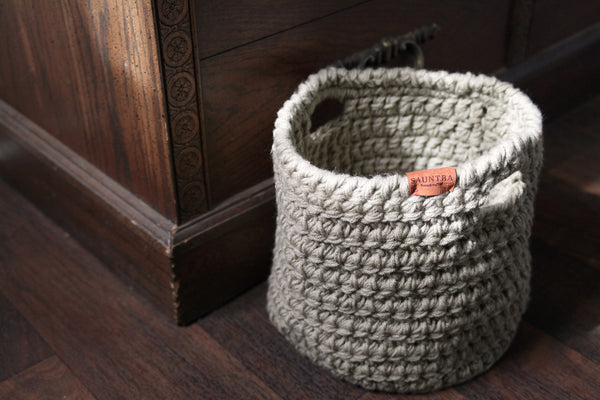 Large Crochet Basket with Handles in Taupe