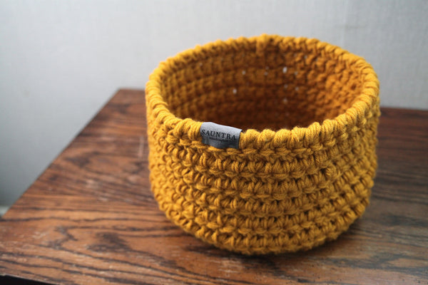 Large Crochet Storage Bin in Goldenrod