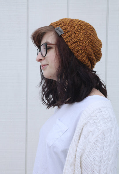 Textured Slouchy Knit Beanie | The Wanderlust Beanie in Gold