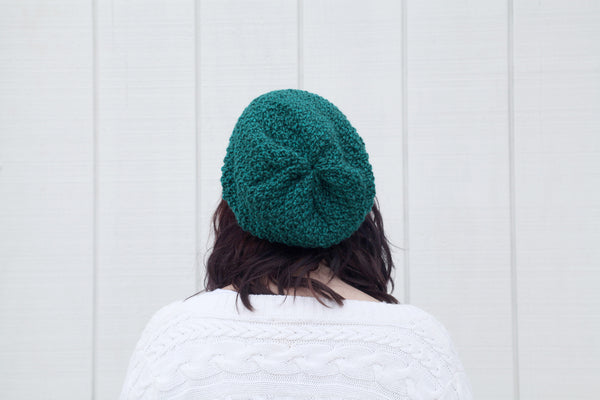 Textured Slouchy Knit Beanie | The Wanderlust Beanie in Teal