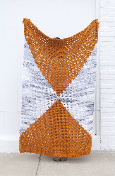 Geometric Throw Blanket in Butterscotch and Marble