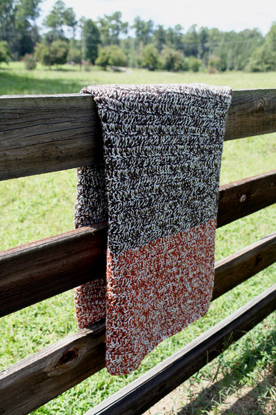 Fox and the Brown | Color Block Throw Blanket in Brown and Spice