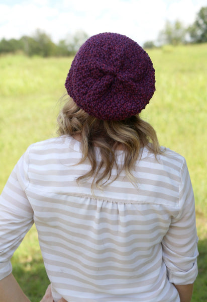 Textured Slouchy Knit Beanie | The Wanderlust Beanie in Eggplant