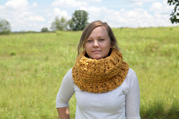 Chunky Crochet Cowl with Faux Ribbed Edging in Mustard Yellow Tweed