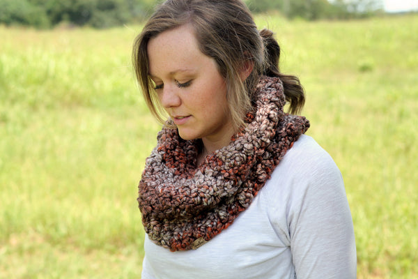 Textured Crochet Cowl in Chocolate