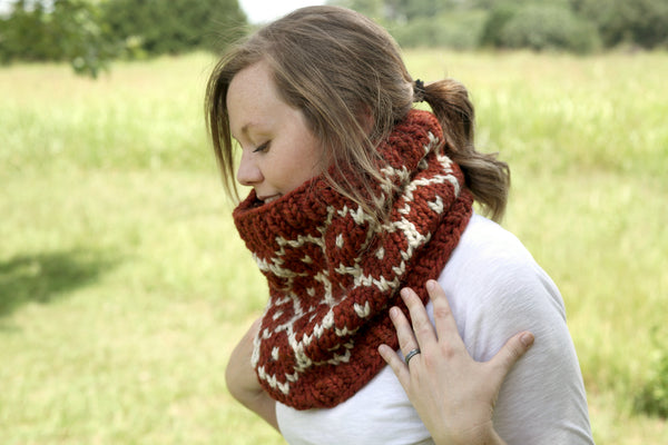 Chunky Knit Fair Isle Neck Warmer in Spice and Oatmeal