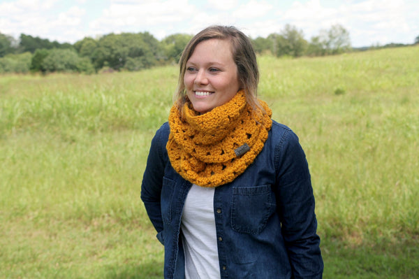 Modern Folk Crochet Infinity Scarf in Mustard Yellow