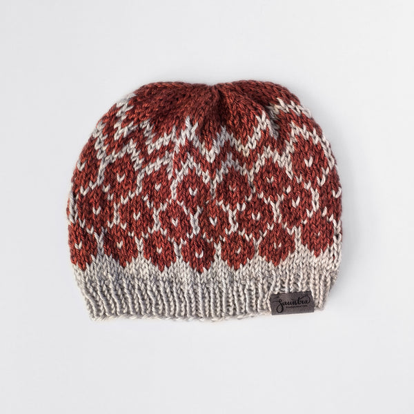Urban Geometric Slouchy Knit Beanie in Silver and Spice