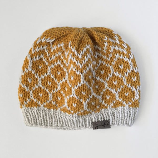 Urban Geometric Slouchy Knit Beanie in Mustard Yellow and Pale Gray