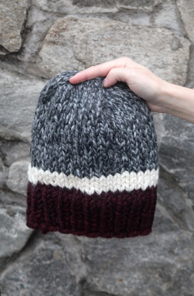 Tri-Color Slouchy Knit Beanie in Red, Gray and White