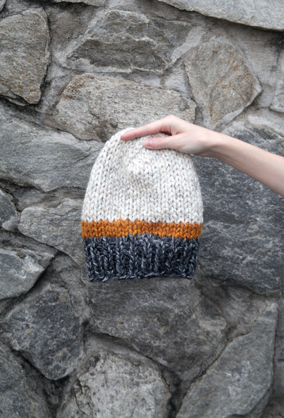 Tri-Color Slouchy Knit Beanie in Gray, Yellow and Oat