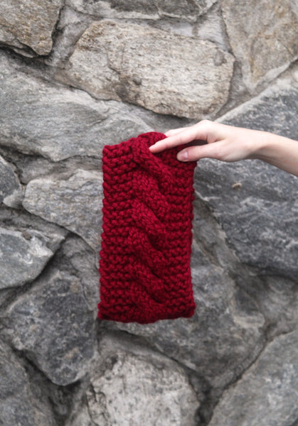 Cabled Ear Warmer in Cranberry