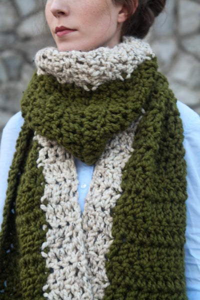 Classic Crochet Colorblock Scarf in Sage