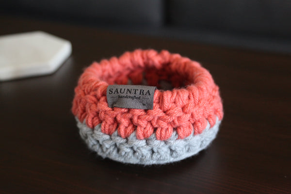 Crochet Bowl in Coral and Gray | Small