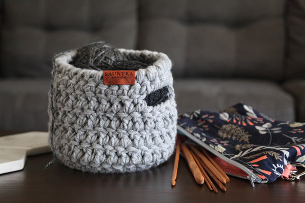 Crochet Basket with Handles in Gray | Small