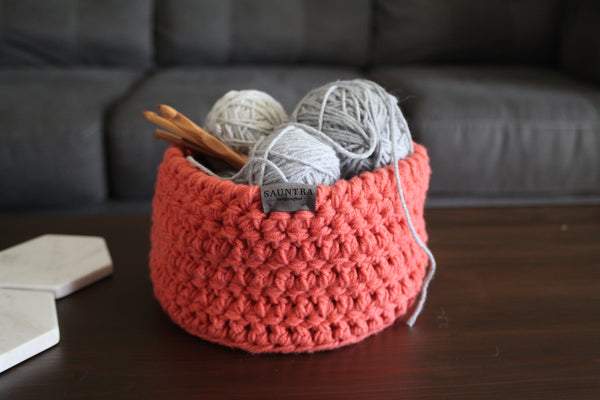 Crochet Storage Bin in Coral | Medium