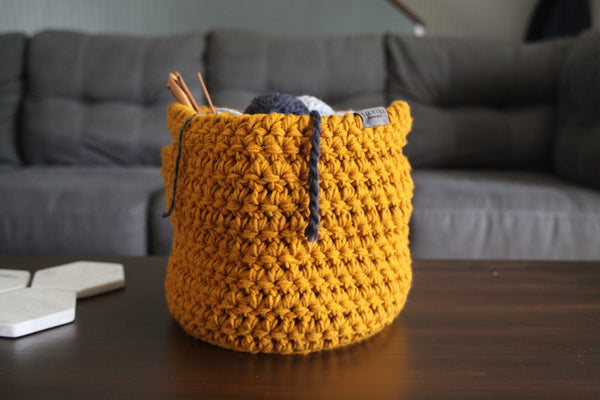 Crochet Basket with Handles in Goldenrod | Large