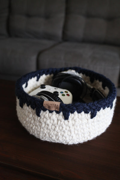 Chunky Storage Bin in Navy and Natural White | Large