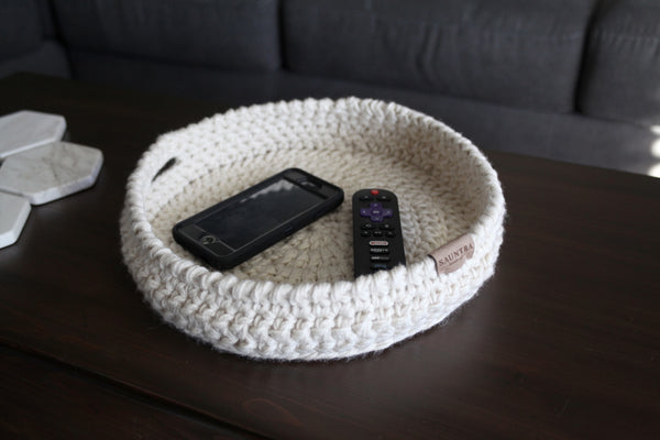 Tabletop Crochet Storage Bin in Oat