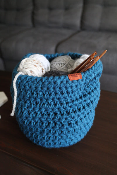 Crochet Basket with Handles in Dark Cerulean | Large