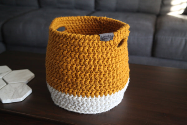Crochet Colorblock Basket in Goldenrod and Oat | Large
