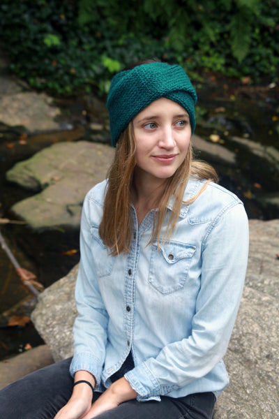 Twisted Knit Ear Warmers in Teal