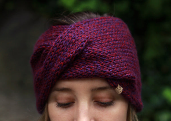 Twisted Knit Ear Warmers in Plum