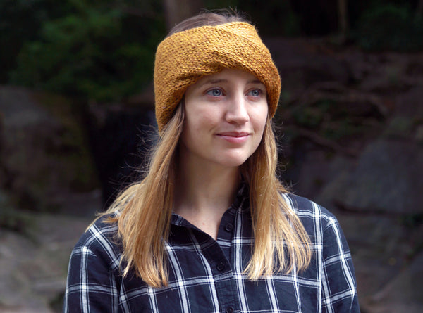 Twisted Knit Ear Warmers in Ochre
