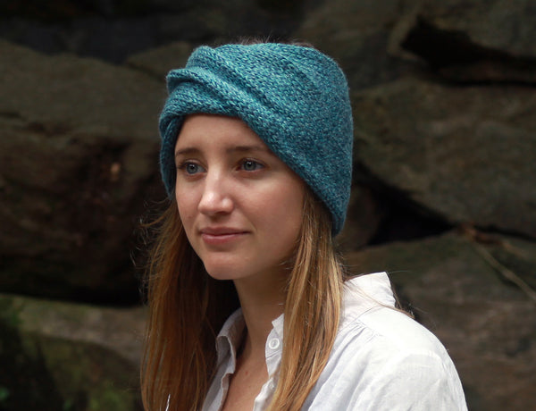 Twisted Knit Ear Warmers in Denim Blue