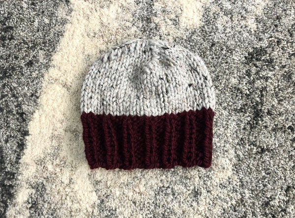 Two-Color Chunky Knit Beanie in Gray and Wine