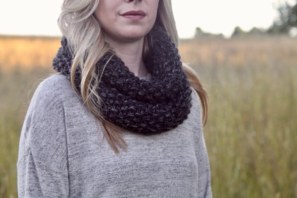 Chunky Knit Neck Warmer in Charcoal