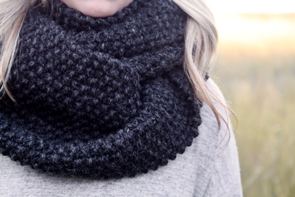 Chunky Knit Infinity Scarf in Charcoal