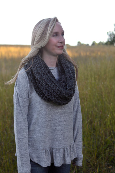 Crochet Infinity Scarf in Charcoal
