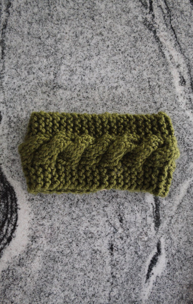 Cabled Ear Warmer in Sage Green