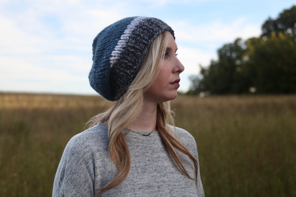 Tri-Color Slouchy Knit Beanie | Navy, Marble and Gray