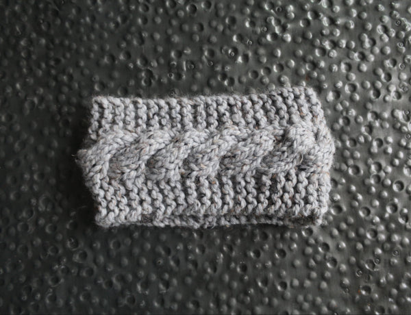Cabled Ear Warmer in Natural Gray