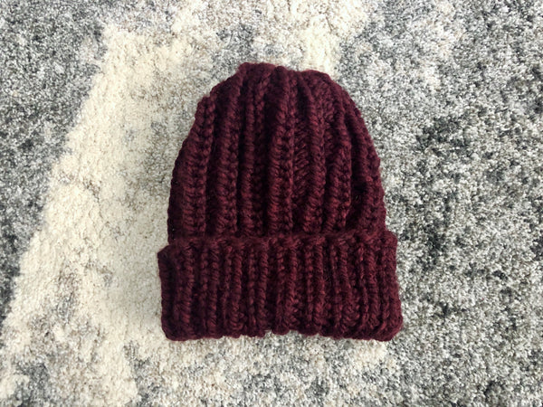 Chunky Ribbed Knit Beanie in Wine Red