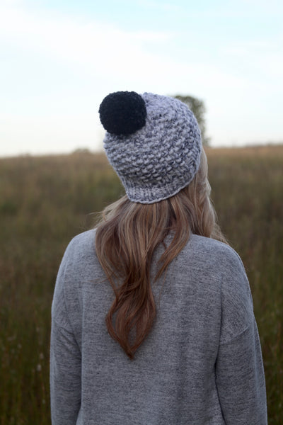 Chunky Seed Stitch Beanie in Marble