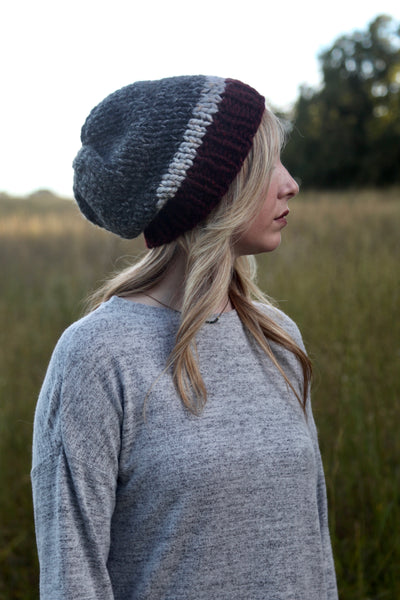 Tri-Color Slouchy Knit Beanie |  Charcoal, Gray and Wine