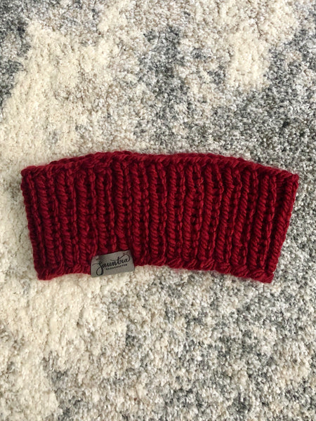 Ribbed Ear Warmer in Cranberry Red