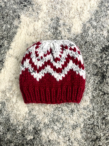 Fair Isle Chunky Knit Beanie in Cranberry and Marble