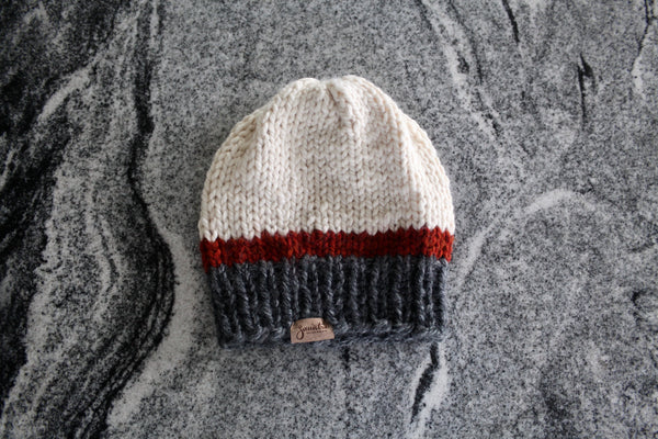 Tri-Color Slouchy Knit Beanie | White, Spice and Charcoal