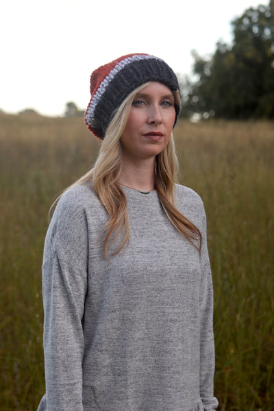 Tri-Color Slouchy Knit Beanie in Spice, Marble, and Gray