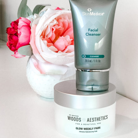 Glow at Home - Woods Aesthetics Glow Weekly Pads and SkinMedica Facial Cleanser