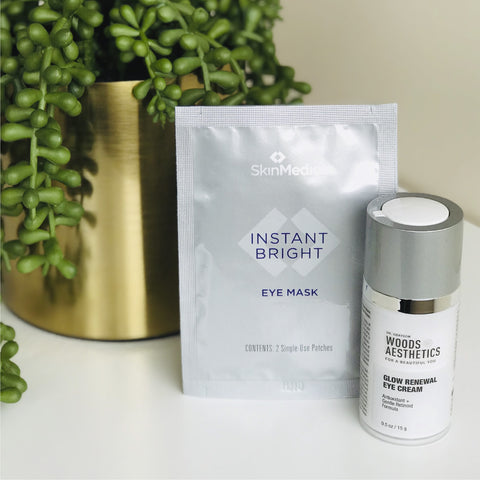 Woods Aesthetics Glow Renewal Eye Cream and SkinMedica Instant Bright Eye Mask