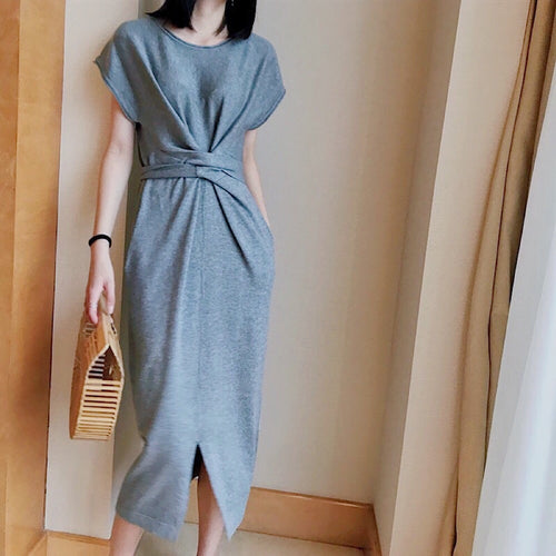 LANE TIE WAIST KNIT DRESS