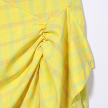 DERON RUCHED PLAID SKIRT