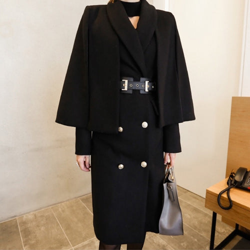THIELE WOOL COAT AND CAPE SET